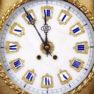 """tarcza zegara z alabastru, mechanizm syg. """"Jappy Feres & Cie"""", koniec XIX w."""