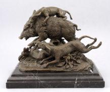 """Pierre Julesa Mene. Bronze, marble base, early 20thC Stamped """"JB DEPOSE BRONZE GARANTI PARIS"""