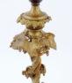 Brąz złocony , ceramiczna podstawa, przerobiony ze świecznika, sprawny elektrycznie, początek XX w.