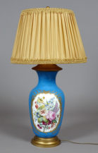 hand painted porcelain, brass, early 20thC